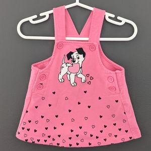 Disney Baby 101 Dalmatian pink overall dress